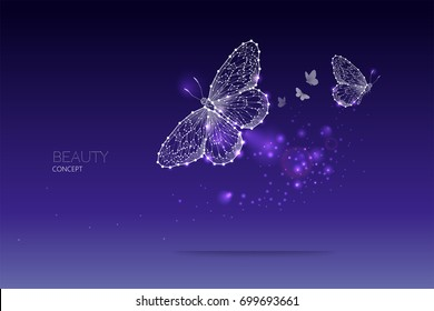 Abstract vector illustration of butterfly moving. starry night sky and line dot graphic design. concept of nature and art. Suitable use for background, line stroke weight editable