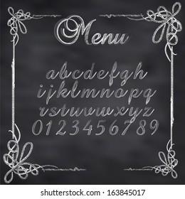 Abstract vector illustration of a chalk menu text on blackboard
