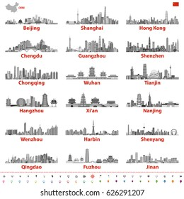 abstract vector illustration of chinese largest city skylines in black and white color palette with map and flag of China; navigation, location and travel icons
