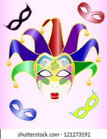 abstract vector illustration of a Christmas carnival mask