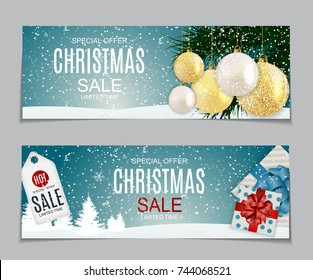 Abstract Vector Illustration Christmas Sale, Special Offer Background with Gift Box and Golden Ball. Winter Hot Discount Card Template. EPS10