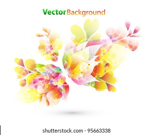abstract vector illustration with colorful floral elements for background