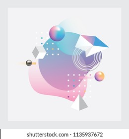 Abstract vector illustration with colorful geometric composition made out of round fluid shapes, polygons, spheres and squares