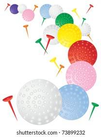 abstract vector illustration of colorful golf balls and tees on white in eps10 format