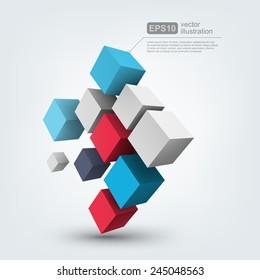 Abstract vector Illustration. Composition of 3d cubes. Background design for banner, poster, flyer, card, postcard, cover, brochure. Logo design.