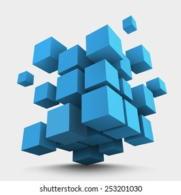 Abstract vector Illustration. Composition of 3d cubes. Background design for banner, poster, flyer, card, cover, brochure. Logo design.