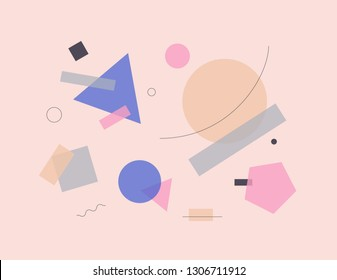 Abstract vector illustration composition artwork with simple geometric shapes and minimalist figures. Bauhaus design style graphics for poster, cover, art, presentation, prints on fabric, wallpaper.
