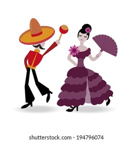 abstract vector illustration of couple dancing