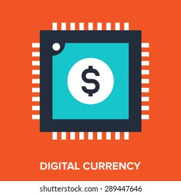 Abstract vector illustration of digital currency flat design concept.