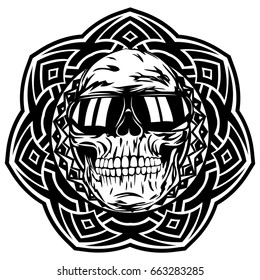 Abstract vector illustration disc jockey skull in sunglasses on round ornament. Design for tattoo or print t shirt.