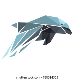 Abstract vector illustration. Dolphin in low-poly style. Polygonal animal