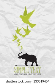Abstract vector illustration of elephant and birds.