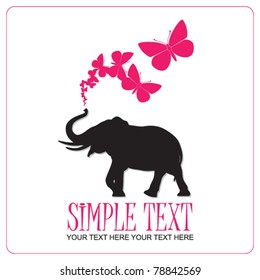 Abstract vector illustration with elephant and butterflies.
