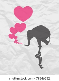 Abstract vector illustration with elephant and hearts on a paper-background.