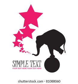 Abstract vector illustration with elephant and stars. Place for your text.