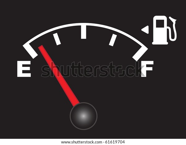 Abstract vector illustration of an empty fuel meter