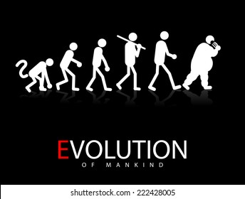 Abstract vector illustration of evolution theory to obesity