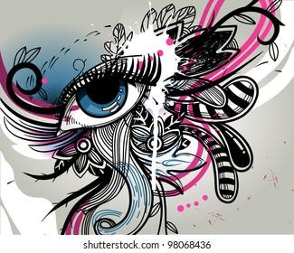 abstract vector illustration of a fantasy blue eye