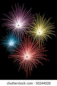 Abstract vector illustration of fireworks on black background