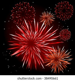 Abstract vector illustration of fireworks over a black sky