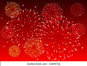 Abstract vector illustration of fireworks in the sky