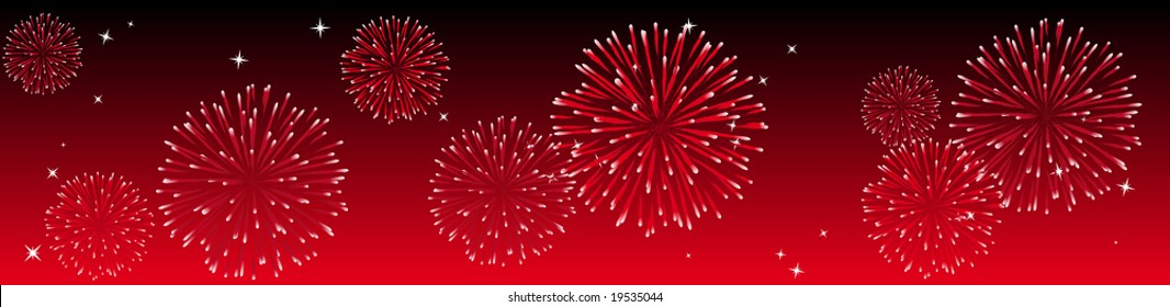 Abstract vector illustration of fireworks in the sky in red
