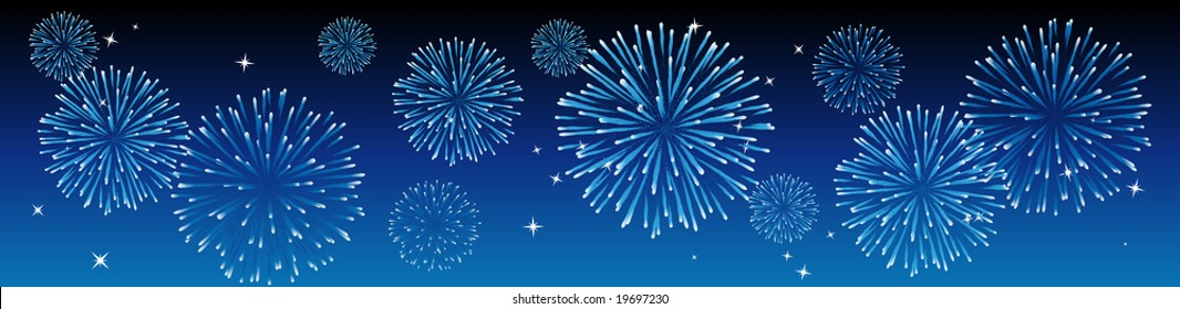 Abstract vector illustration of fireworks in the sky in blue