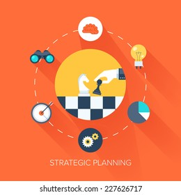 Abstract vector illustration of flat and colorful strategic planning concept with long shadow. Design elements for web and mobile applications.
