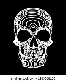 Abstract vector illustration of frontal view of white line skull on black background with white rings.