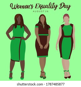 An abstract vector illustration of full length frontal view of multi ethnic women on a green isolated background for Women's Equality Day