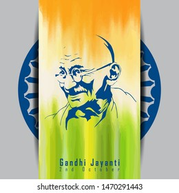 abstract Vector illustration of Gandhi Jayanti background.2nd October- Vector