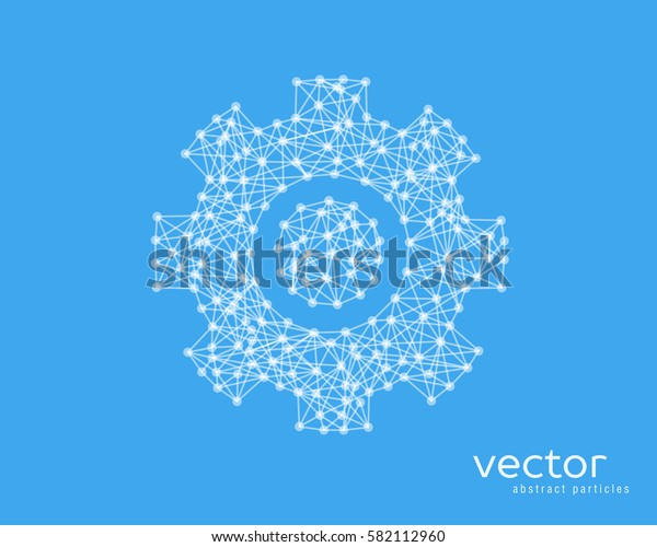 Abstract vector illustration of gear sign on blue background.