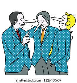 Abstract vector illustration, group of businessmen, having happy conversation together, with long nose. Metaphor to liar person, concept of lying to each other.