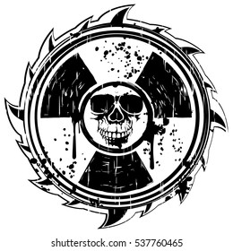 Abstract vector illustration grunge black skull and symbol radiation