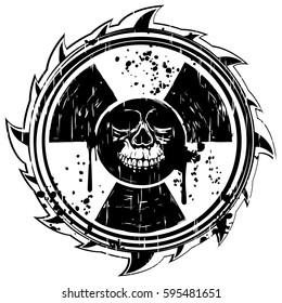 Abstract vector illustration grunge black skull and logo radiation