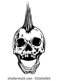 Abstract vector illustration grunge skull punk for tattoo or t-shirt design