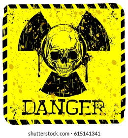 Abstract vector illustration grunge yellow sign radiation to skull with lettering danger