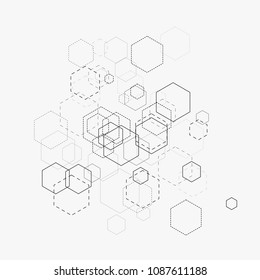 Abstract vector illustration with hexagons and lines on white background. Hexagon infographic. Digital technology, science or medical concept. Hexagonal geometric vector background
