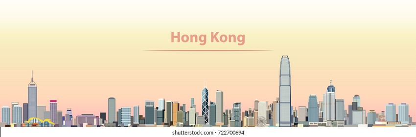abstract vector illustration of Hong Kong city skyline at sunrise