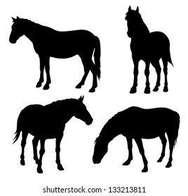 Abstract vector illustration of horse silhouettes