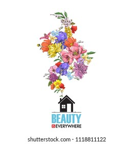 Abstract vector illustration of house and flowers.