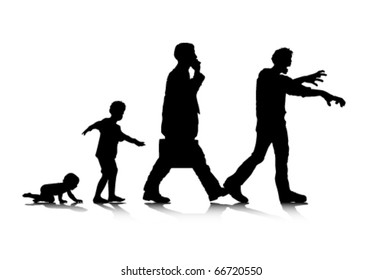 An abstract vector illustration of human aging and zombification.