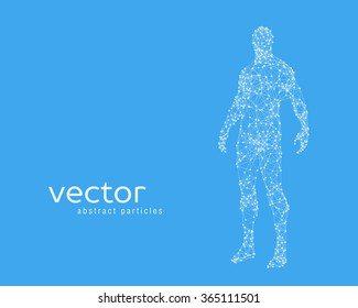 Abstract vector illustration of human body on blue background