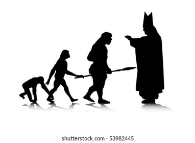 An abstract vector illustration of human evolution/creation.
