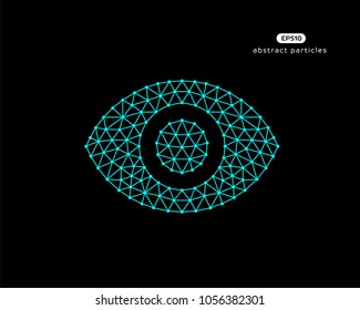 Abstract vector illustration of human eye on black background.