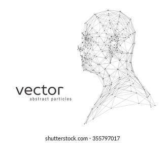Abstract vector illustration of human head on white background
