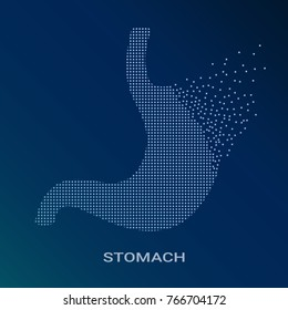 Abstract Vector Illustration Of Human Stomach On Blue Background. Pixel Art Logo of Gastroenterology. Vector Logotype Illustration EPS. Creative Medical Concept