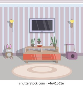 abstract vector illustration of interior of a guest room