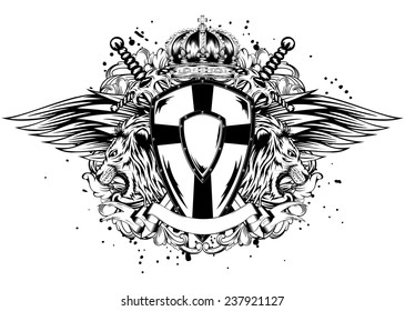 Abstract vector illustration lion board corona and crossed swords