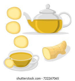 Abstract vector illustration logo for home ginger tea cup in teapot. Teapot pattern consisting of mug handle, porcelain cups, teabag, glass teacup brewed liquid. Drink fresh gingers teas in teapots.